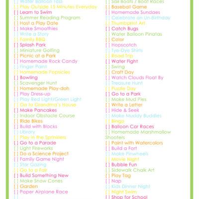 Summer Bucket List – 76 Summer Activities for Kids
