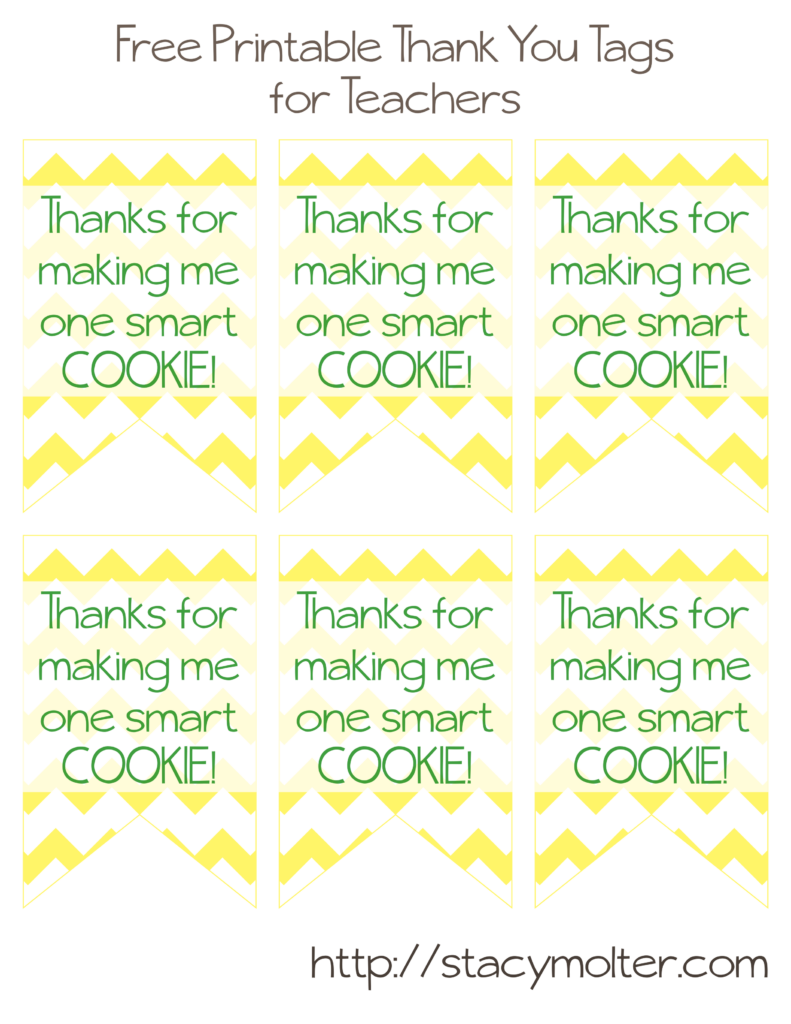 Free Printable Thank You Tags for Teacher's Gifts