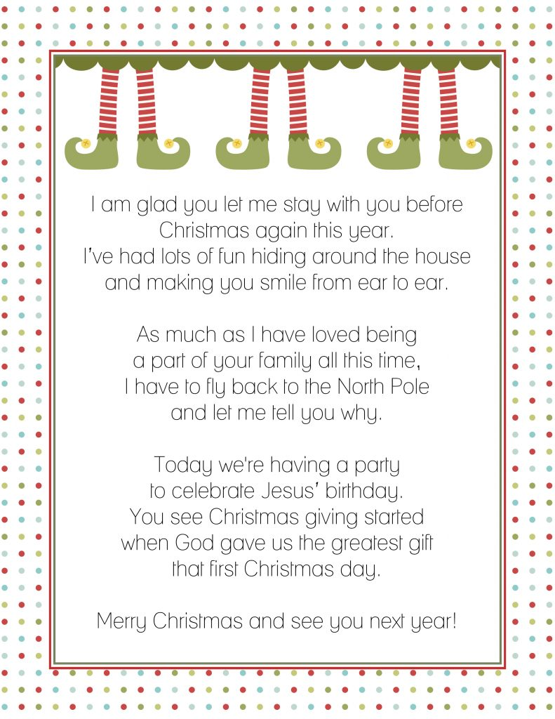 Letter from the Elf on the Shelf