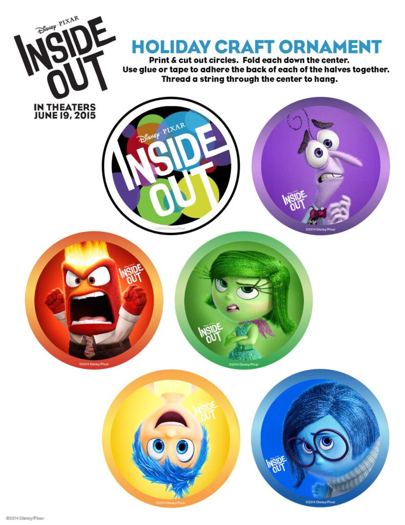 Inside Out Holiday Ornament Activity Sheets