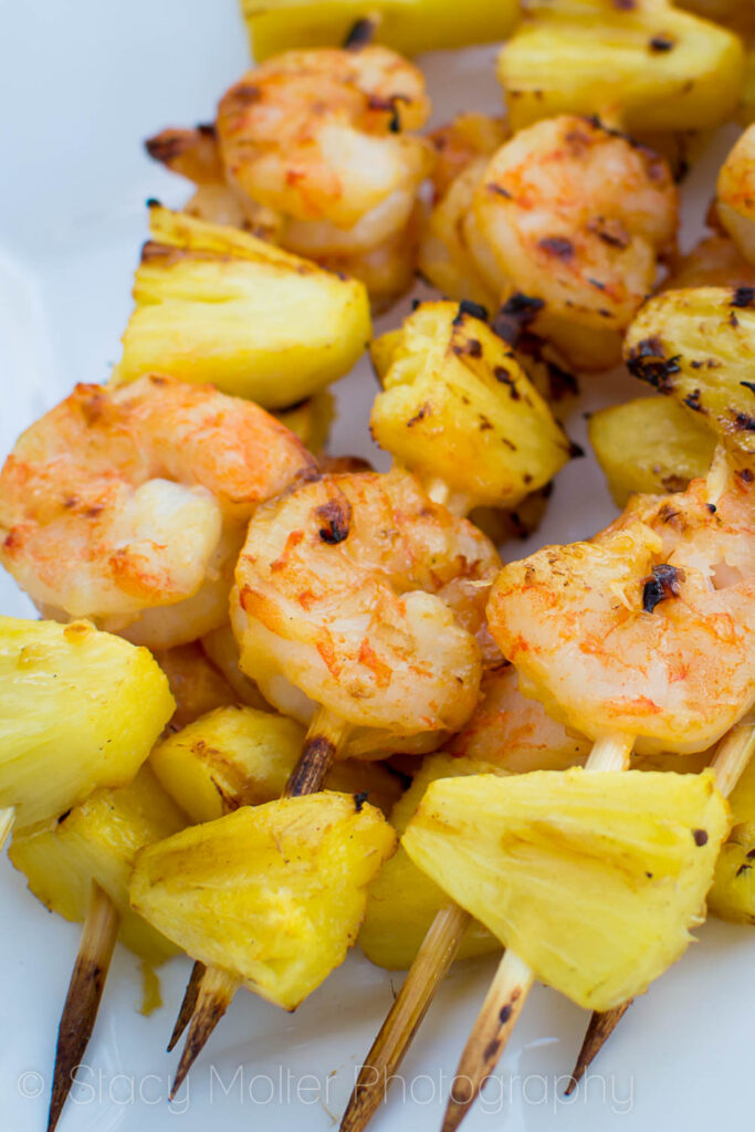 Grilled Sweet Chili and Coconut Pineapple Shrimp Skewers | Stacy Molter Photography