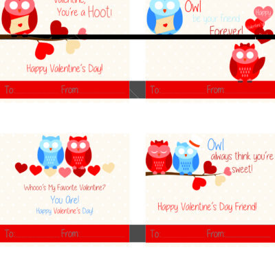 Free Printable Owl Valentine Cards