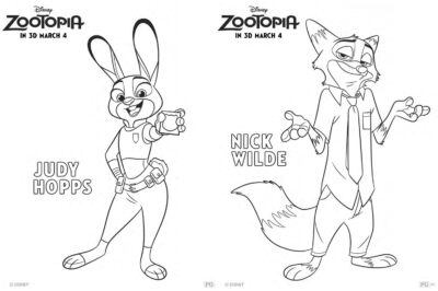 Zootopia Character Coloring Pages