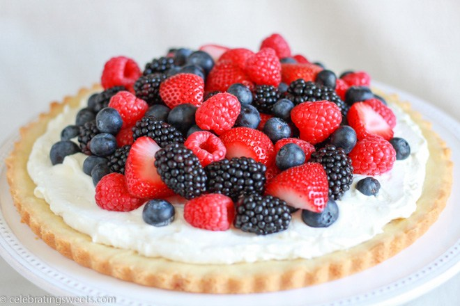 Berries and Cream Tart with Cookie Crust