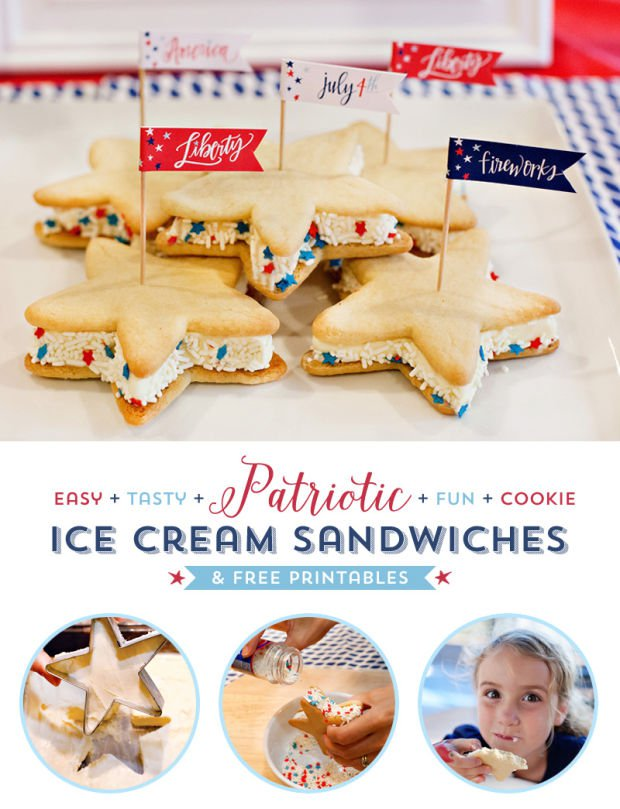Patriotic Cookie Ice Cream Sandwiches