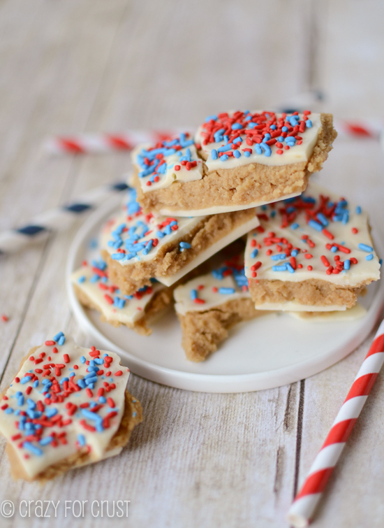 Patriotic Peanut Butter Cookie Dough Bark