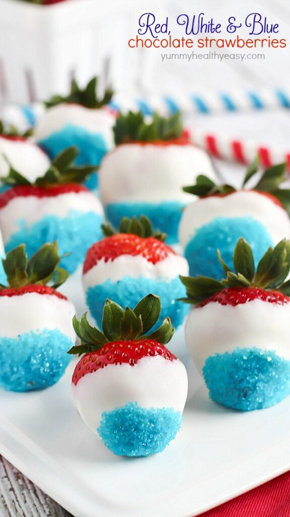 Red, White & Blue Chocolate Strawberries