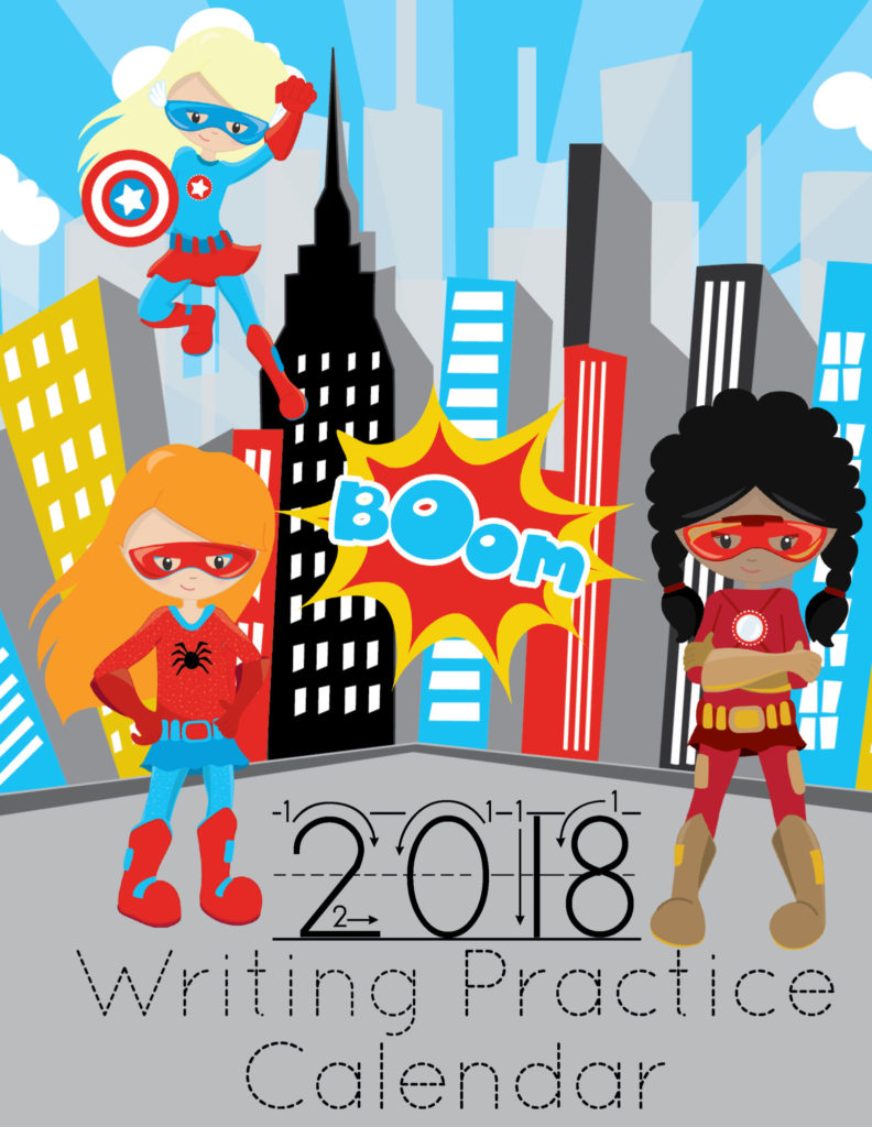 Free Printable 2018 Calendar - Super Hero Boys & Girls