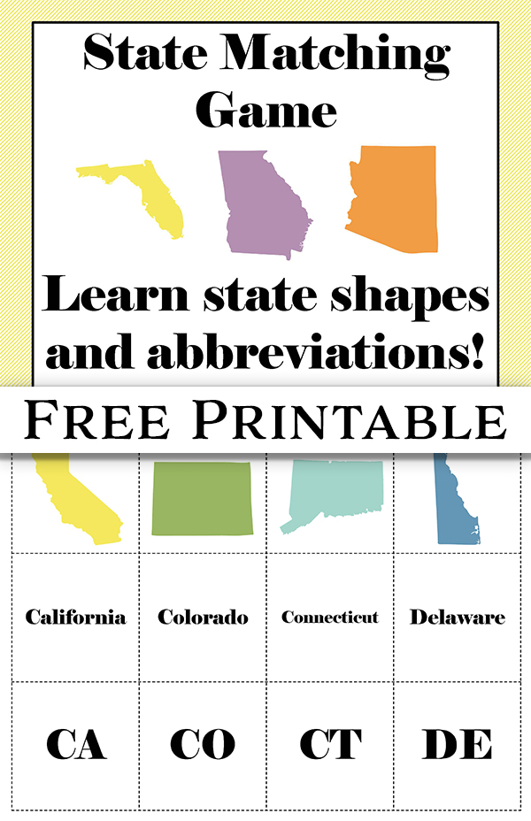 Free Printable U.S. State Matching Game